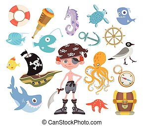 Sea adventure set. One-eyed pirate with a sword, treasure chest, shark, octopus and other pirate items. Children's vector illustration, isolated on white background.