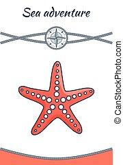 Sea Adventure Starfish Poster Vector Illustration