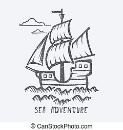 Sea adventure vector illustration