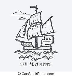 Sea adventure vector illustration