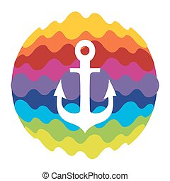Sea Anchor Rainbow Color Icon for Mobile Applications and Web