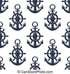 Sea anchors seamless pattern