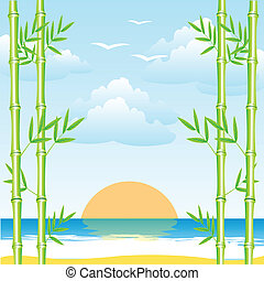 Sea and bamboo grove