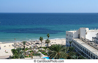 Sea and beach in Tunisia - Sea view from hotel in Sousse,...