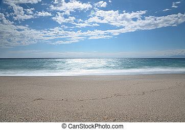 Sea and beach, long exposure shot
