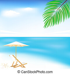Sea And Beach, Vector Illustration