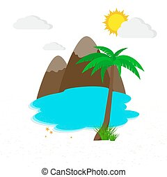 Sea and beach. Vector illustration. Travel or vacation...