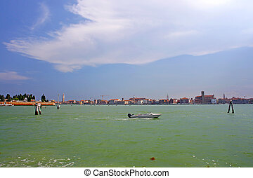 Sea and beautiful clouds in the sky, Venice, Italy