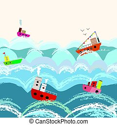 Sea and boats seamless pattern for kids