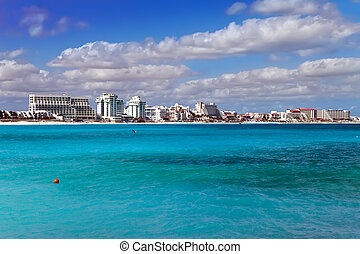 sea and city in the distance Mexico. Cancun