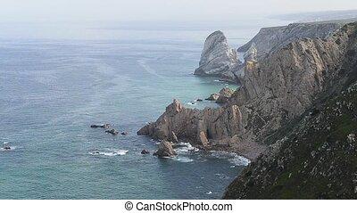 Sea and cliffs edge Cabo da Roca, forms the westernmost...