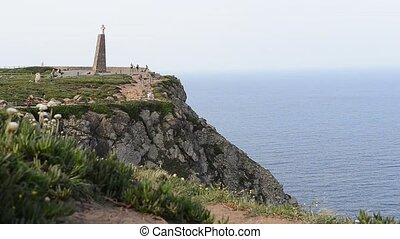 Sea and cliffs edge Cabo da Roca, forms the westernmost...