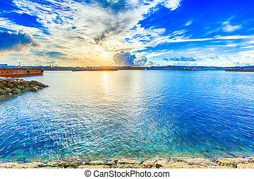 Sea and clouds in Okinawa, HDR