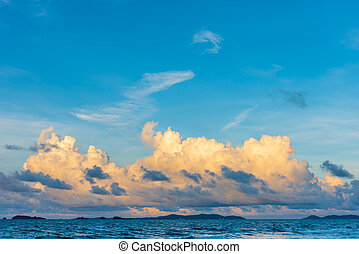 sea and cloudy blue sky over it.