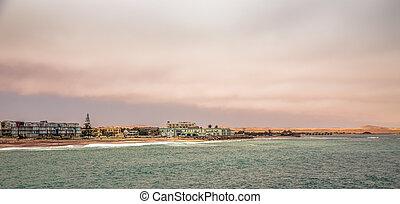Sea and coastline panorama of Swakopmund German colonial town, Namibia