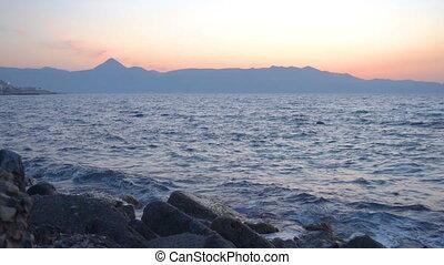 Sea and Crete island at dusk, Greece