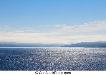 Sea and mountain range - Summer panoramic view of the sea ...