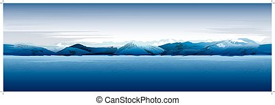 Sea And Mountains, Blue Vector Background