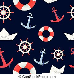 Sea and nautical seamless pattern on the dark blue background.
