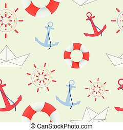 Sea and nautical seamless pattern on the light green background.