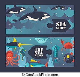 Sea and ocean underwater world, vector illustration. Invitation to sea show with killer whales, aquarium center advertisement. Ocean underwater creatures