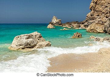 Sea and rocks at Egrimni beach, Lefkada, Greece