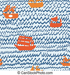 Sea and sailing ships seamless pattern hand drawn design