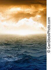 Fantastic background - glowing sky and dark sea