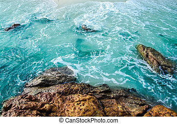 sea and stone on island