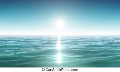 Sea and sun. Blue sky. Looped.