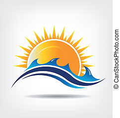 Sea and sun season Vector icon Abstraction of summer season This icon serves as idea of summer time, beach relax ,sunny ocean, waves beach, surf adventure, sunset day