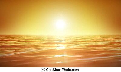 Sea and sun. Sunset. Looped.