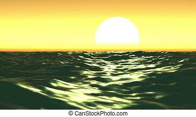 Sea And Sun. Sunset. Orange Sky