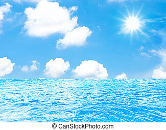 sea and sun with blue sky