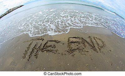 huge THE END on the beach photographed with fisheye lens -...