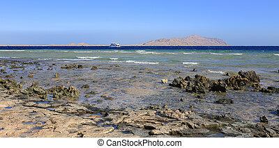 Sea and Tiran island in Sharm El Sheikh