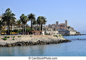 Sea and town of Antibes in France - Sea and town of Antibes...