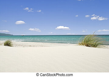 Sea and white sand - Beautiful beach with white sand and...