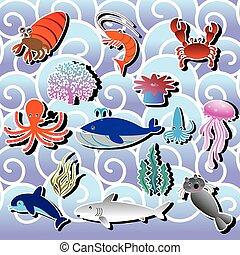 sea animal - Sticker icons sea animals on the ocean waves...