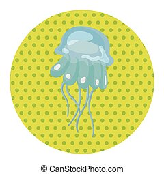 sea animal jellyfish cartoon theme elements