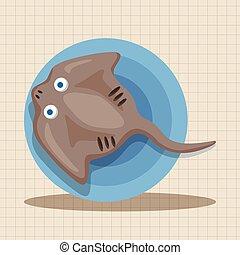 sea animal stingray cartoon theme elements