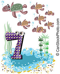 Sea animals and numbers series