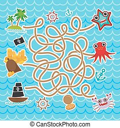 sea animals, boats pirates. cute sea objects collection labyrinth game for Preschool Children. Vector