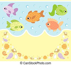 Sea animals cartoon background card