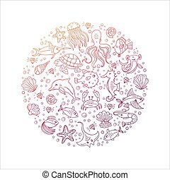 Sea animals circle