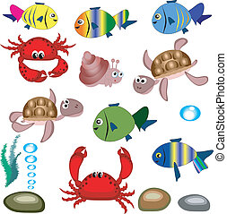 Sea animals.