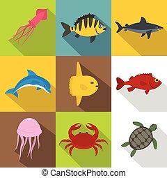 Sea animals icon set, flat style
