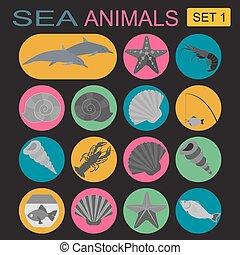 Sea animals icon. Vector