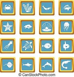 Sea animals icons azure