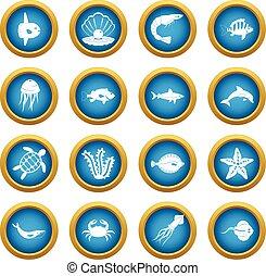 Sea animals icons blue circle set